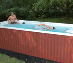 Combining the luxury of an acrylic spa with the variable speed current of an Endless Pool - backyard living at its finest.